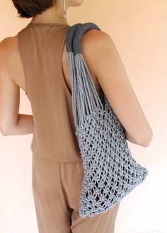 Macrame Tote Bag Shopper Bag Natural Linen and by KNOTinterior
