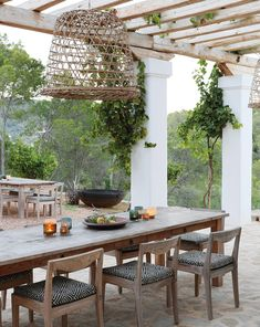The summer home of a Dutch couple, set on a forested hillside on the Mediterranean island of Ibiza, epitomises easy-going luxury and laid-back style. Elle Decor, Outdoor Spaces, Outdoor Living, Outdoor Pergola, Haus Am See, African Interior, Long House, Moraira, Vernacular Architecture