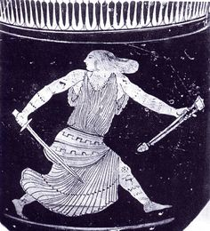 A Thracian woman wearing Amazon-style leggings and sleeves runs with a sword she has just drawn from its scabbard.