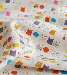 Kawaii colorful cat collection cotton linen fabric by Vivianzakka
