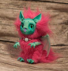 Mint vampire pink ooak art doll fantasy creature by Furrykami