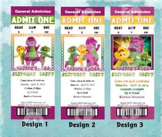 PERSONALIZED - BARNEY Birthday Party Invitation - FAST - Admission Ticket Style
