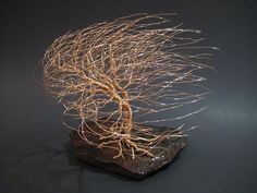 Wire Tree Sculpture of Windswept Willow by FeathersOfTheForest