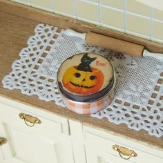 Dollhouse Miniature, Halloween Canister, Orange Gingham, Black Cat, Biscuit Tin, Cookie Jar, Shabby Cottage Chic, 1:12th Scale