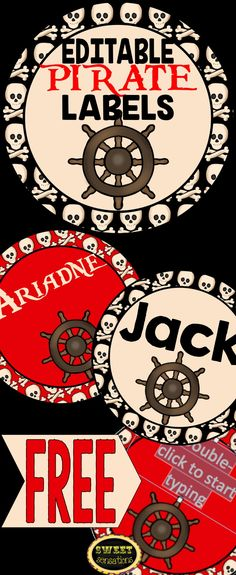 Free editable labels with a pirate theme - 2 colors and 3 sizes!