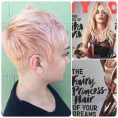 Rita Ora's Rose Gold Hair  Color & Cut by Katey McMuffin at Glama-Rama! Oakland #glamarama #rosegoldhair #pixie #shorthairforwomen #ritaora