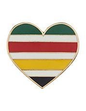 Hudson's Bay Multi-Stripe Heart Pin. If this isn't a great representation of Canada, and its history, I don't know what is. [Maybe a beaver, wearing a toque and skates, holding poutine and a maple syrup on snow cone. Ha.]