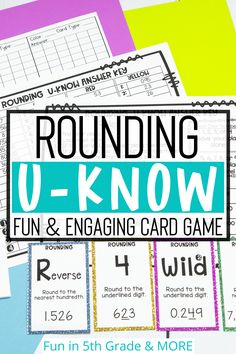 Are you looking for a fun and enaging way to review rounding? This card game that is similar to UNO is the perfect way to review rounding in upper elementary! This math game reviews whole number rounding and decimal rounding. Great to use during math stations or small group! Rounding Games, Fun Math Games, Math Stations, Math Centers, Elementary Math, Upper Elementary, Decimal, Math Classroom, 5th Grades