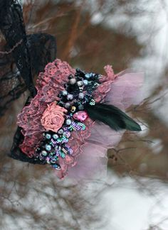 Columbine-- shabby chic bohemian wrist wrap with vintage lace and beading by FleursBoheme on Etsy https://www.etsy.com/listing/264968854/columbine-shabby-chic-bohemian-wrist