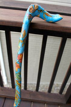 OOAK wood-burned and painted wooden walking cane with leaf