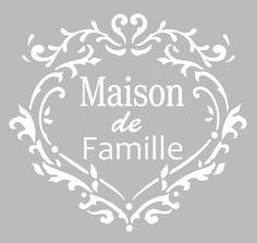 Pochoir Adhésif 20 x 20 cm COEUR MAISON DE FAMILLE