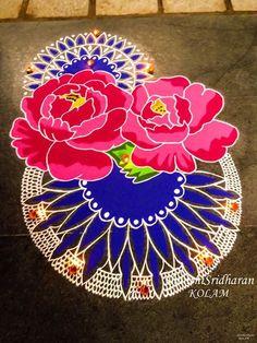 #rose#pink#blue#kolam#mandala