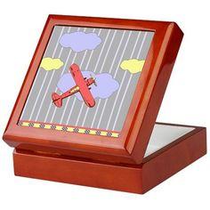 Little Red Airplane Stripes Keepsake Box on CafePress.com
