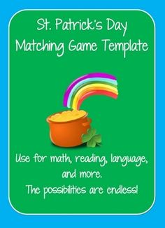 St. Patrick's Day Clover Matching Games for reading, language, and math. Comes with multiplication facts, but can be customized.