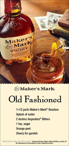 The Maker's Mark Old Fashioned is a perfectly balanced bourbon cocktail – vanilla notes in the bourbon blend with bitter Liquor Drinks, Whiskey Drinks, Alcoholic Drinks, Beverages, Bourbon Cocktails, Cocktail Drinks, Drinks With Bourbon, Christmas Cocktails, Holiday Cocktails