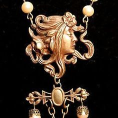 Stunning Alphonse Mucha 'Circe' Glass, Bead and French Brass Festoon from nouveautonow on Ruby Lane