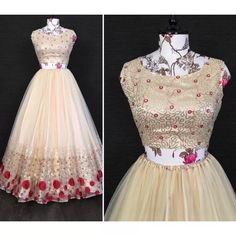 Off white net sequins embroidered work lehenga choli