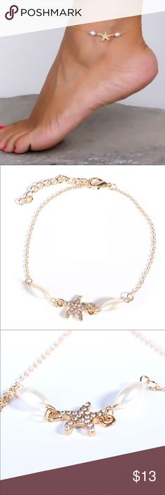 Starfish and Pearl Gold Anklet Bracelet Perfect for that tropical get away.  Nice fashion anklet.  Brand new Jewelry Bracelets