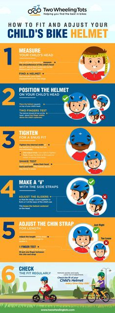 Check out our fun infographic that shows 6 simple steps to make sure your child's bike helmet fits right and is adjusted for safety! Kids Ride On, Kids Bike, Helmet Drawing, Child Bike Seat, Skateboard Helmet, Kids Helmets, Nurse Office, Bike Equipment, How Do You Find