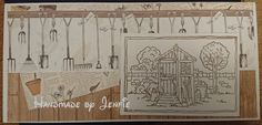 Handmade by Jenfie - Greetings Card, LOTV In the Shed stamp, Craftwork Cards Potting Shed paper
