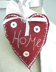 "felt heart, love the ""home"""