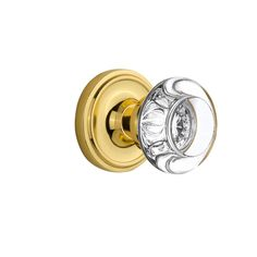 Classic Rosette 2-3/8 in. Backset Unlacquered Brass Privacy Round Clear Crystal Glass Door Knob