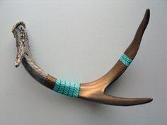 Painted deer horns