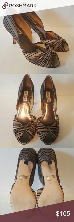 Badgley Mischka Ryder D'orsay Peeptoe Pumps Ryder style olive and black striped D'orsay pumps by Badgley Mischka. Never worn, brand new in box with the branded dust bag! Not green at all, more of a metallic dark tan. Hard to describe but these shoes are comfy and beautiful! Badgley Mischka Shoes Heels
