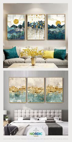 Abstract Mountain Landscape Blue Jade Green Golden Contemporary Wall Art Posters Fine Art Canvas Prints Nordic Pictures For Modern Home Decor - Painting Subjects Landscape Walls, Mountain Landscape, Abstract Landscape, Abstract Art, Mountain Art, Abstract Painting Canvas, Abstract Posters, Mountain Decor, Abstract Portrait