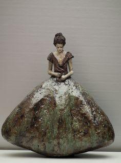 Artwork by Carry Bakker Rinkens - Gala, Pottery Sculpture, Sculpture Clay, Pottery Art, Ceramic Figures, Ceramic Art, Sculptures Céramiques, Clay Art, Figurative Art, Female Art