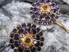 Purple Starburst Crystal Floret Bobby Pin by thepinkcamellia, via Etsy.
