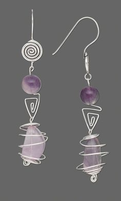 Jewelry Design - Earrings with Sterling Silver Wire and Fluorite Gemstone Nugget Bead - Fire Mountain Gems and Beads