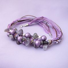 purple ribbon necklace
