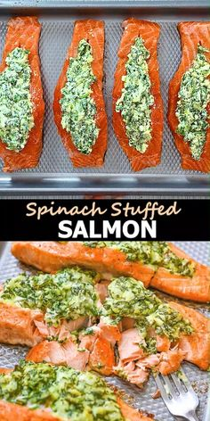 Salmon Spinach Recipes, Healthy Salmon Recipes, Fish Recipes, Seafood Recipes, Healthy Dinner Recipes, Cooking Recipes, Health Recipes, Healthy Meal Prep, Seafood Dishes