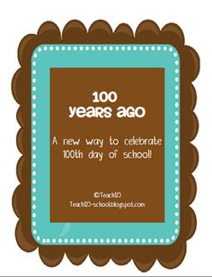 100th Day of School activities:  social studies and writing activities.  REVISED:  If you bought this last year, you get the revised version for free.  Check your TPT downloads folder.