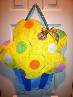 Colorful Cupcake  Burlap Door Hanger