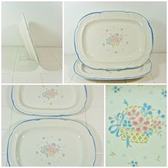 2 x Oval Serving Platters Country Basket Collection Japan Vintage Meat FREE P&P