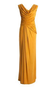 CEME London Jersey dress - CeMe Saffron Yellow Long Evening Jersey Dress (soft & warm only)