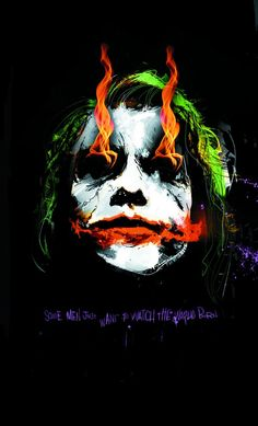 Heath Ledger as the Joker, by Mark 'Jock' Simpson. this is an art card that came with the boxed set of the Dark Knight trilogy.