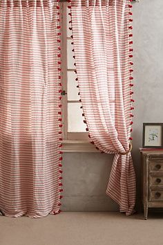 Pom Tassel Curtain - Same style in plain white would be nice. Pom Pom Curtains, Hanging Curtains, Balloon Curtains, Decoration Bedroom, Room Decor, Home Curtains, Linen Curtains, Striped Curtains, Farmhouse Curtains