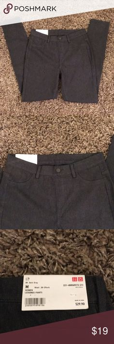 Uniqlo Dark Gray Legging Pants, Medium Super comfy and stylish legging pants from Uniqlo, dark gray. Fake button and pockets in front, real back pockets. Very stretchy, and nice enough to wear out or to work! NWT  inseam: about 29 inches Waist: 14 inches across front (stretchy) - on tag says 28-29 waist  Front rise: about 9.5 / back: 12.25 inches Uniqlo Pants Skinny