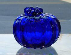 Cobalt Blue Glass Pumpkin by lynn  Want for guest room