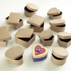 Papier Mache Boxes - Children can create a 'treasure' box for mum using these lovely boxes, decorate with acrylic paint/Decopatch papers/felt shapes etc to make a great Mother's Day take home gift. Mothers Day Crafts, Crafts For Kids, Shops, Treasure Boxes, Home Gifts, Felt, Craft Ideas, Paint, Group