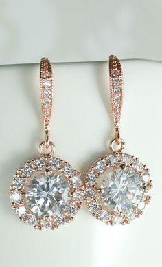 Bridal Rose gold earrings