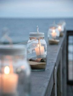 Sand, shells, mason jars and candles - perfect for candle and sea/ocean magick alike. Coastal Style, Coastal Living, Coastal Decor, Cottages By The Sea, Beach Cottages, Beach Houses, Jardin Decor, Moraira, Beach Wedding Decorations