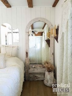 Beautiful Arched Door Turned into Mirror for Farmhouse Decor by Prodigal Pieces | prodigalpieces.com