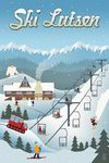 Lutsen Mountains - Retro Ski Resort  - Lantern Press Poster