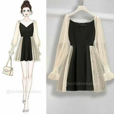 Fashion Drawing Dresses, Fashion Illustration Dresses, Korean Fashion Dress, Fashion Dresses, Girls Fashion Clothes, Teen Fashion Outfits, Cute Fashion, Style Fashion, Dress Sketches