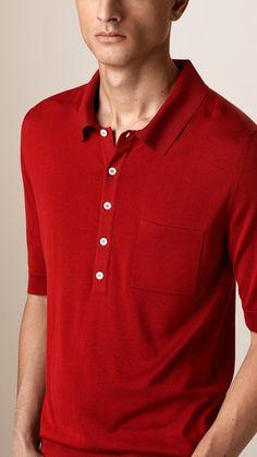 Fine Gauge Knitted Silk Polo Shirt | Burberry