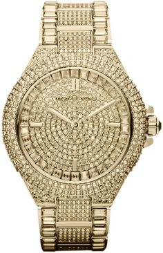 $550, Gold Watch: Michael Kors Michl Kors Mid Size Golden Stainless Steel Camille Three Hand Glitz Watch. Sold by Neiman Marcus.